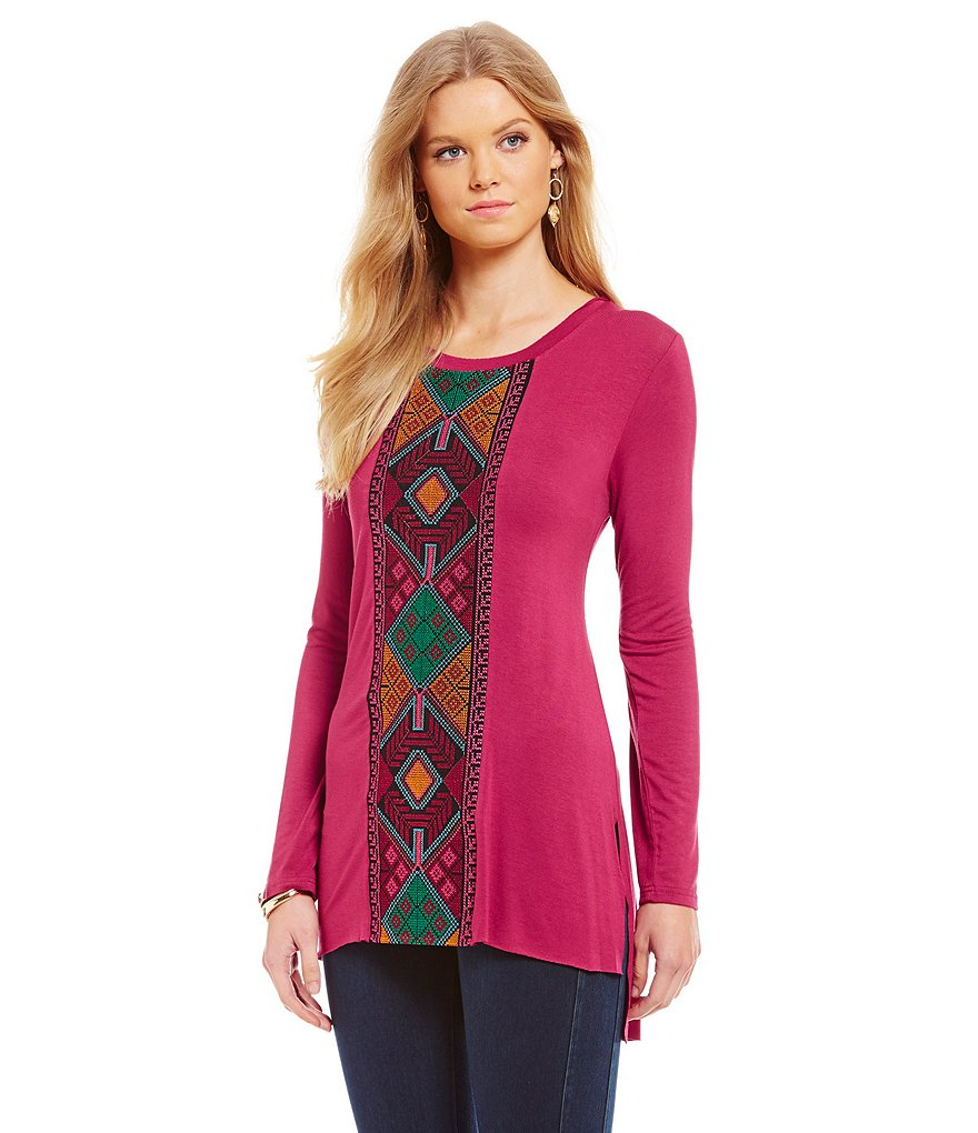 James Bryan Tribal Embroidered Long Sleeve Tunic