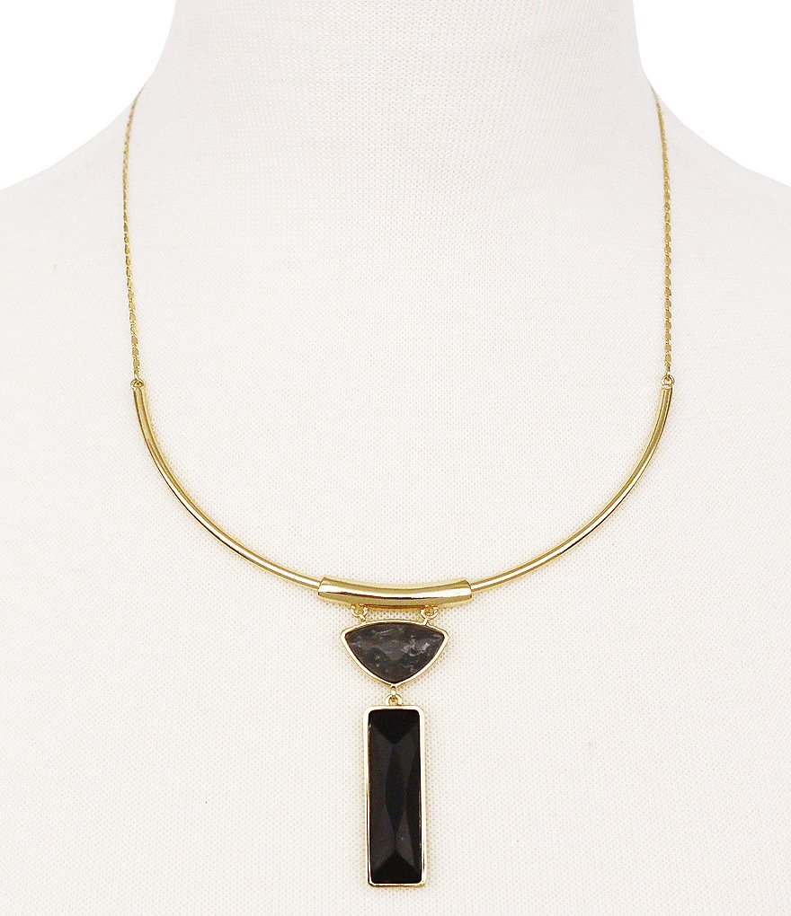 Jessica Simpson Gypsy Songbird Double Stone Onyx and Marble Jasper Collar Necklace