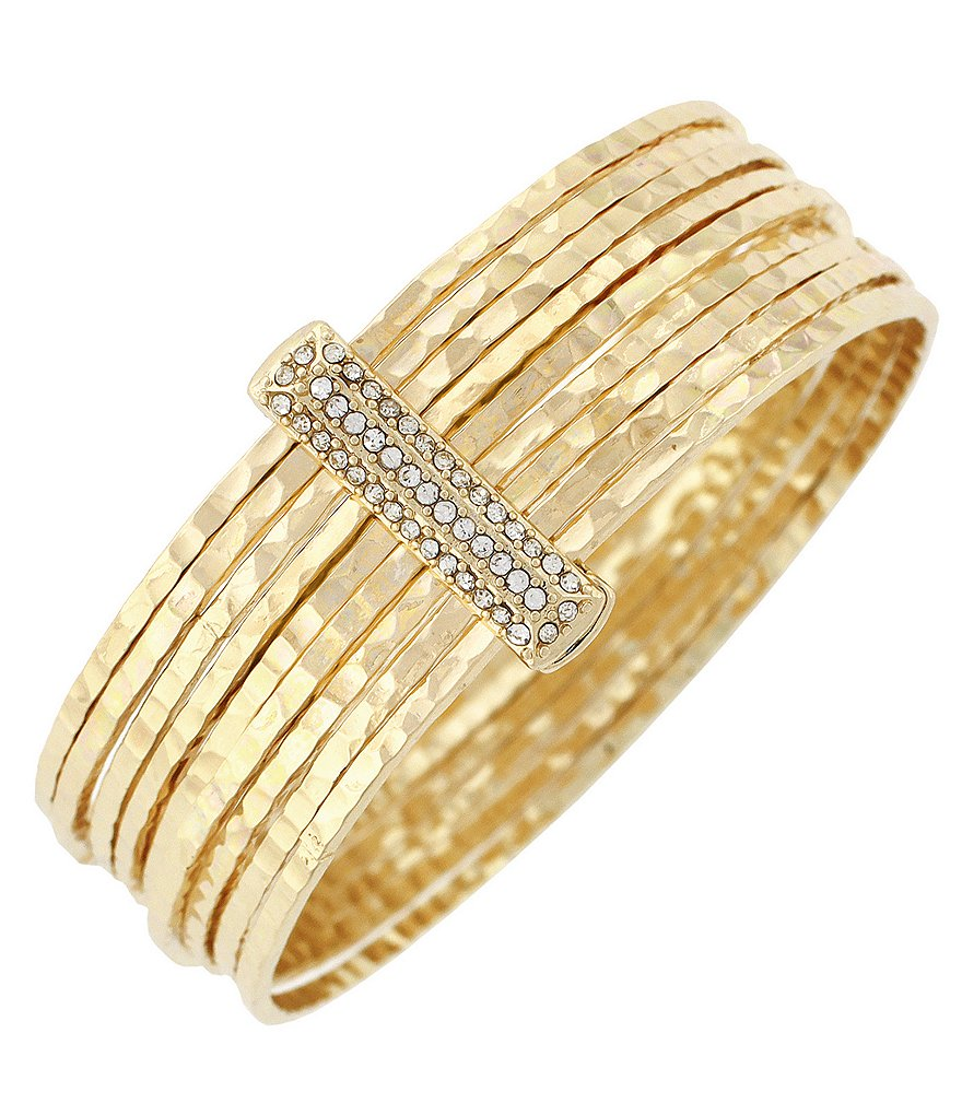 Jessica Simpson Crystal and Imitation Gold Hammered Bangle Bracelet