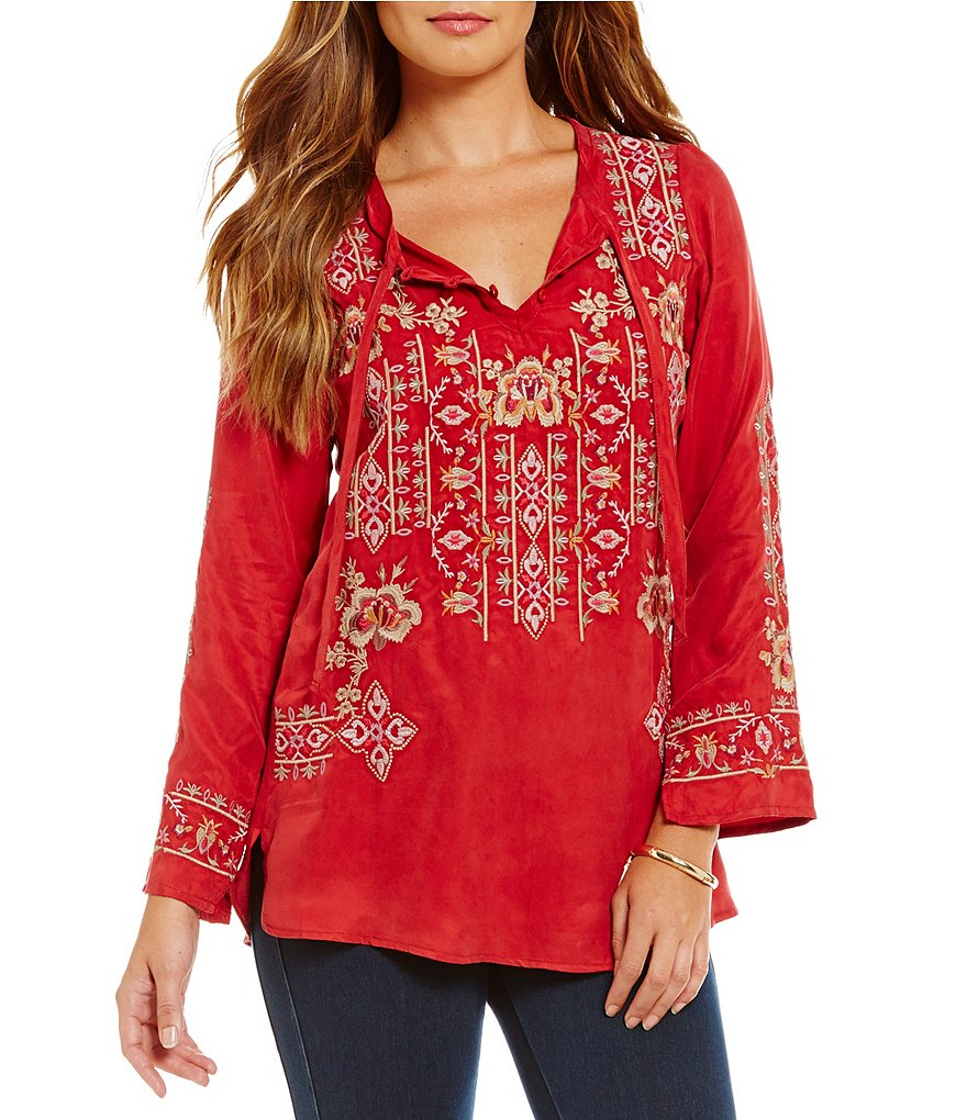 James Bryan Embroidered Long Sleeve Top