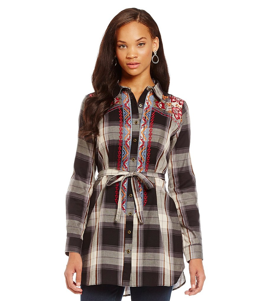 James Bryan Embroidered Button-Up Front-Tie Plaid Tunic