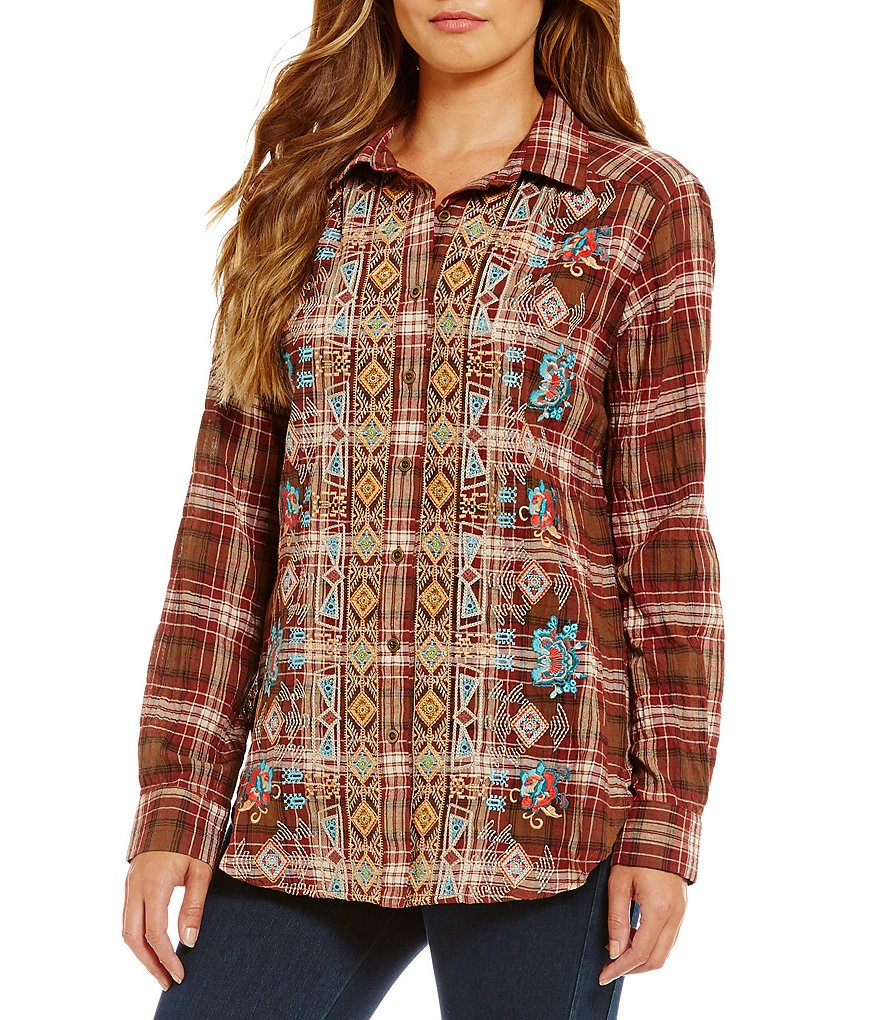 James Bryan Embroidered Plaid Tunic