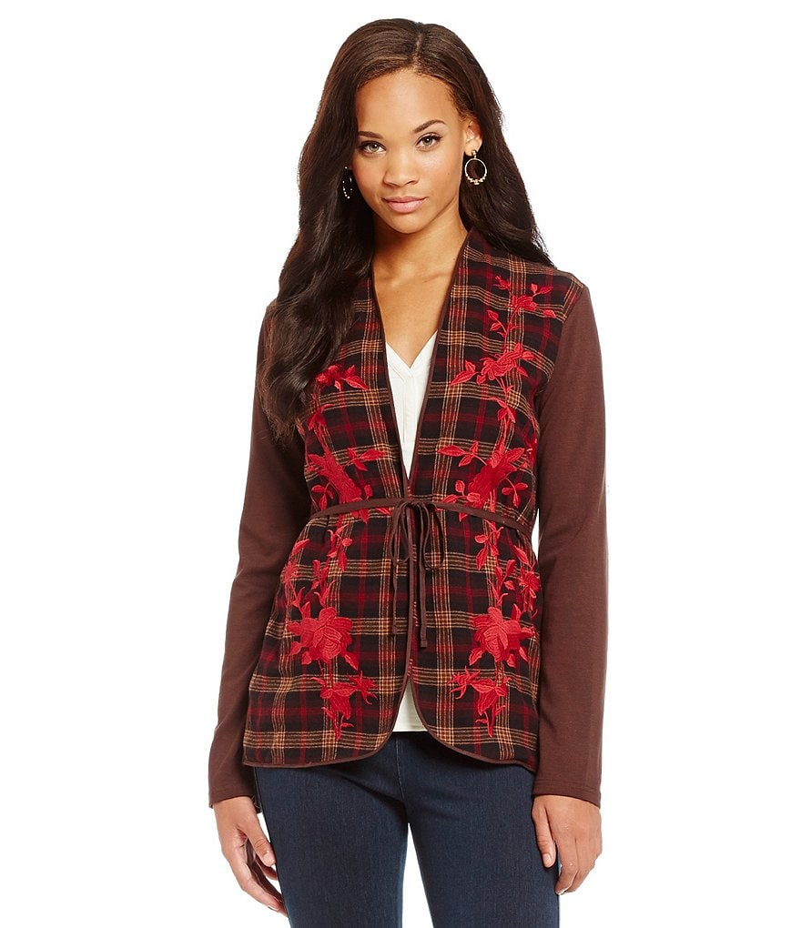 James Bryan Embroidered Plaid Cardigan
