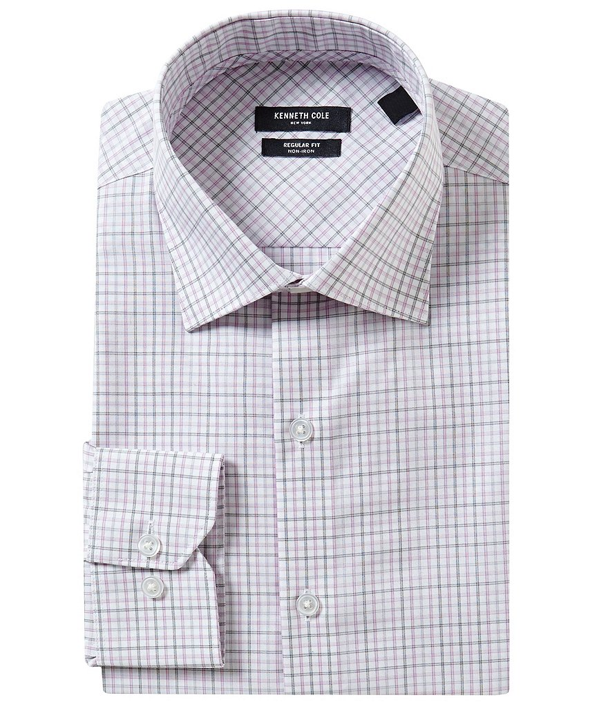 Kenneth Cole New York Non-Iron Fitted-Classic Fit Spread-Collar Checked Dress Shirt