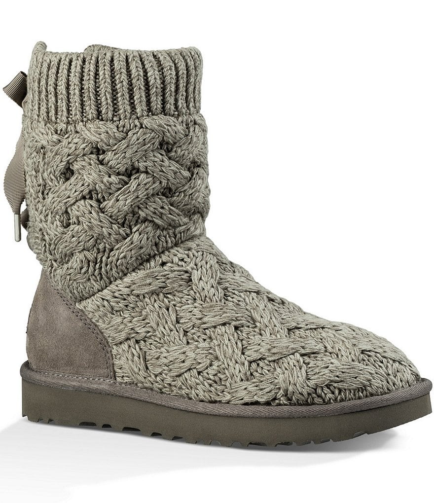UGG® Isla Knit Bow Detail Slip-On Boots