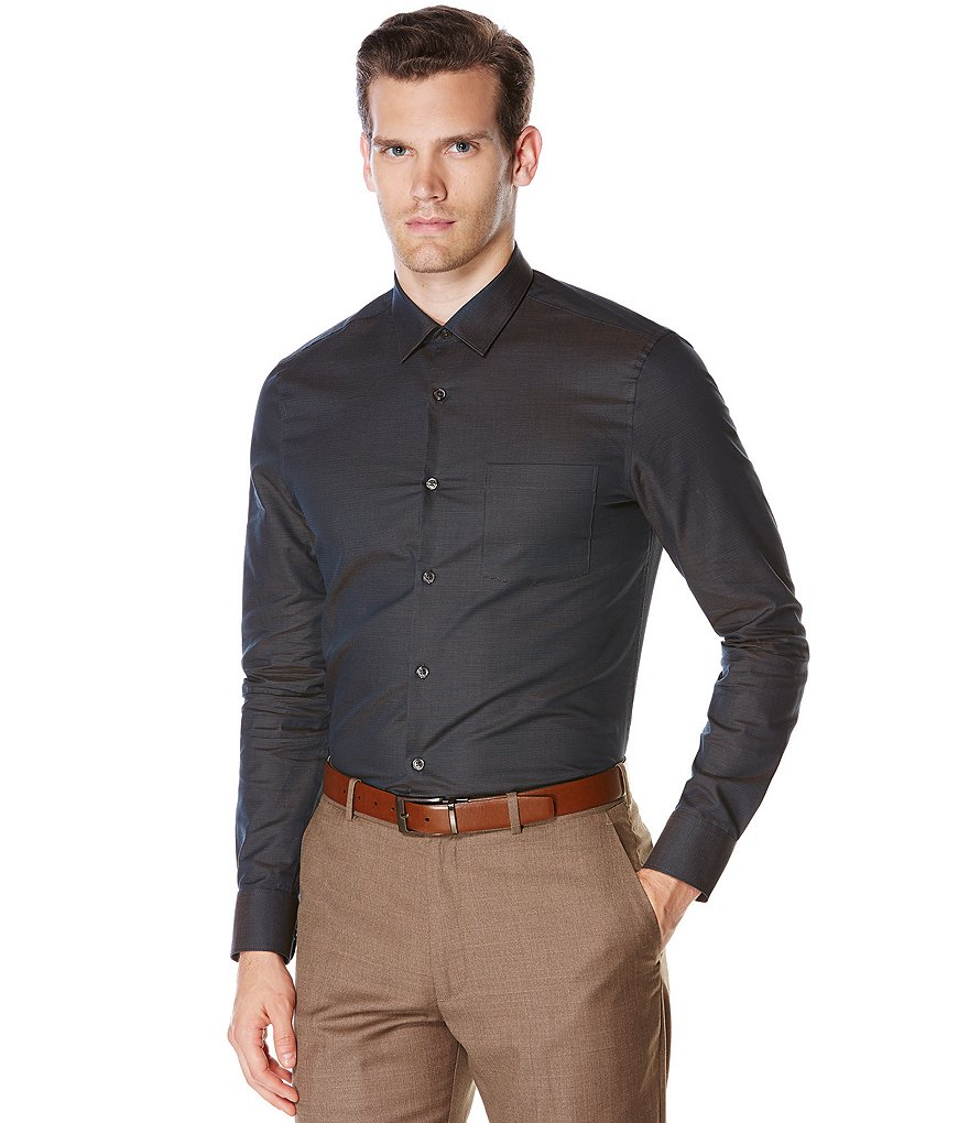 Perry Ellis Slim-Fit Textured Dobby Long-Sleeve Woven Shirt