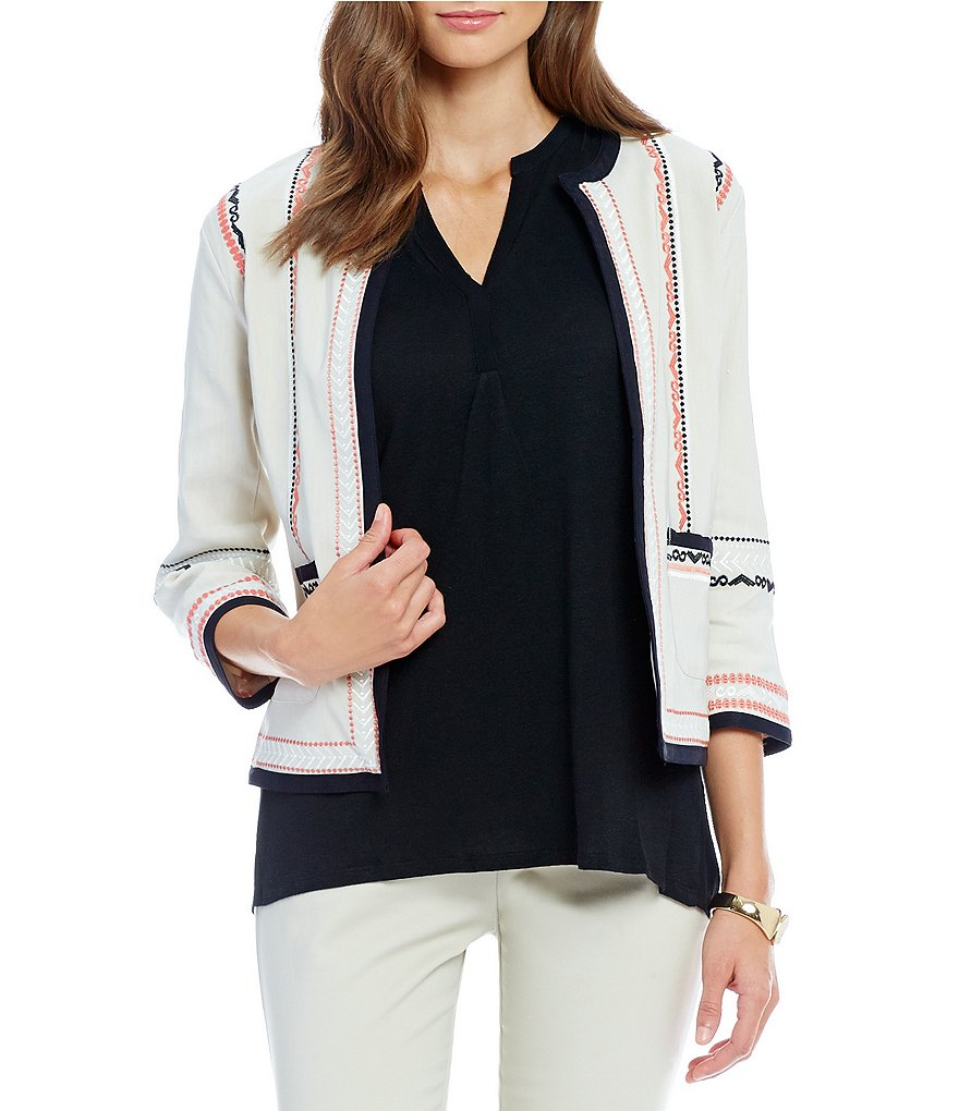 Sigrid Olsen Signature Embroidered Linen Jacket