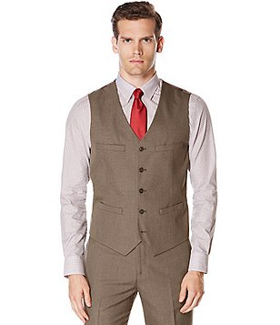 Perry Ellis Twill Plaid Vest