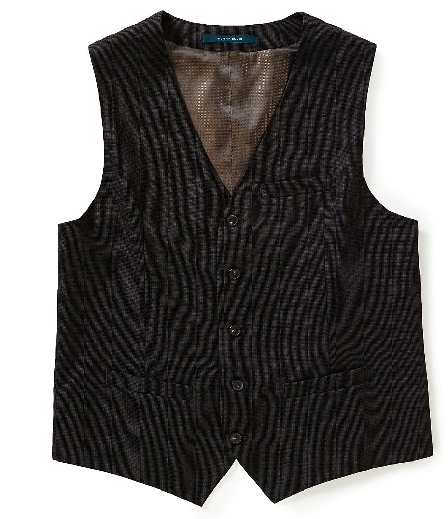 Perry Ellis Tonal Micro-Check Vest