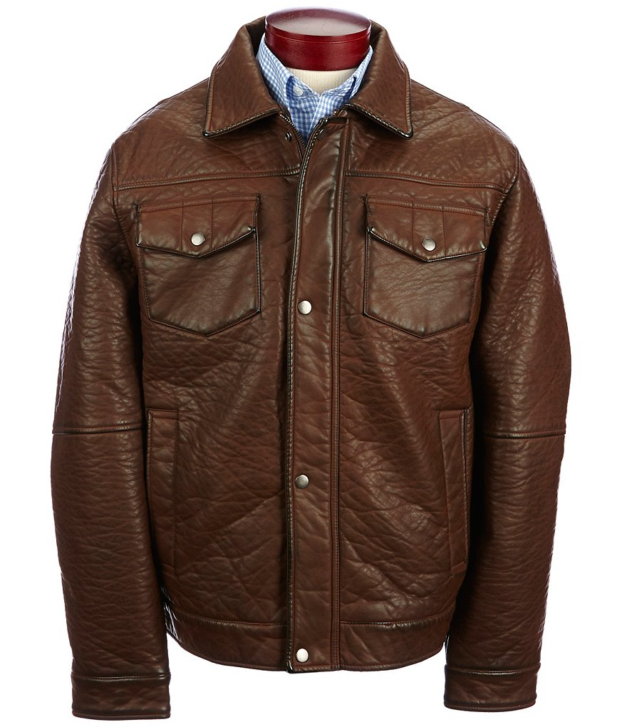 Roundtree & Yorke Rugged Faux-Leather Coat