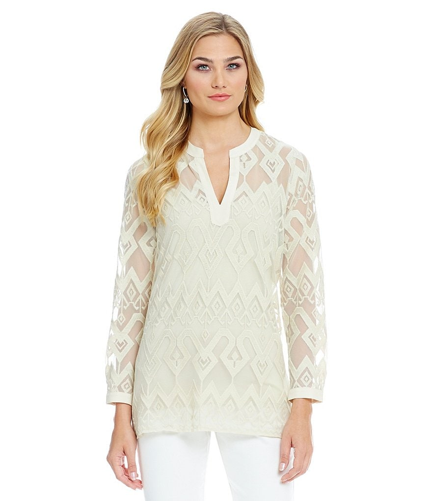 Sigrid Olsen Signature Embroidered Mesh Long Sleeve Tunic