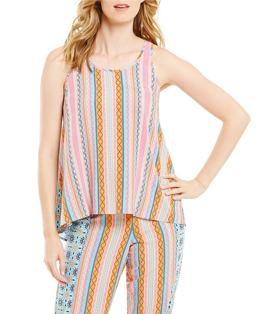 Jasmine & Ginger Mixed-Stripe Racerback Poplin Sleep Tank