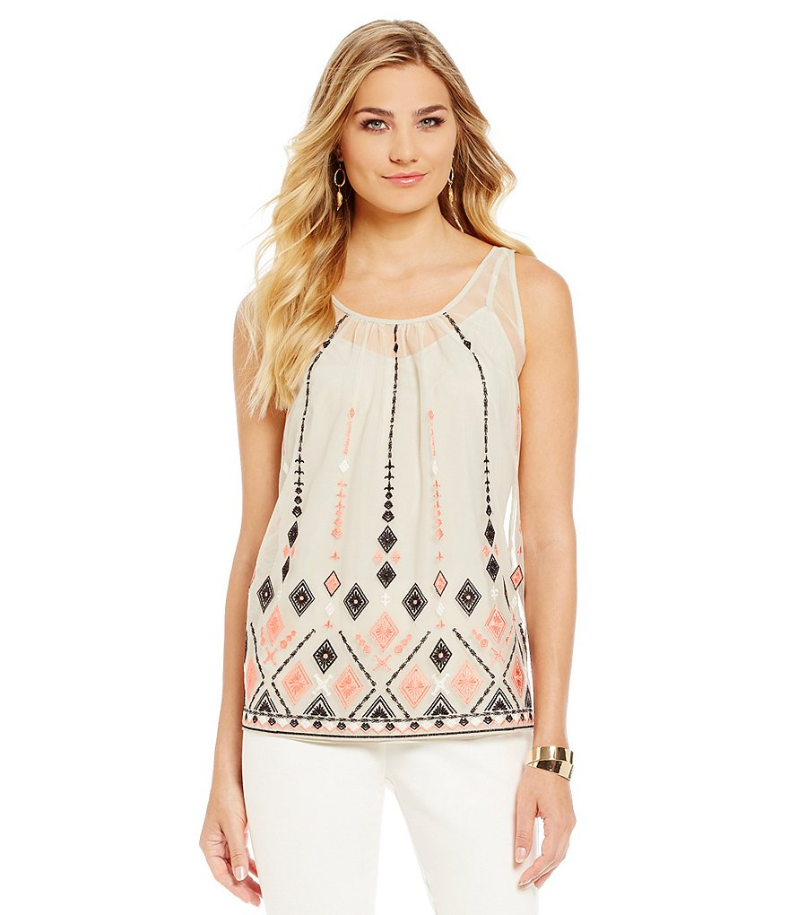 Sigrid Olsen Signature Embroidered Mesh Tank