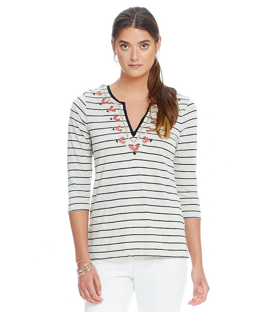 Sigrid Olsen Signature Striped Jersey Top
