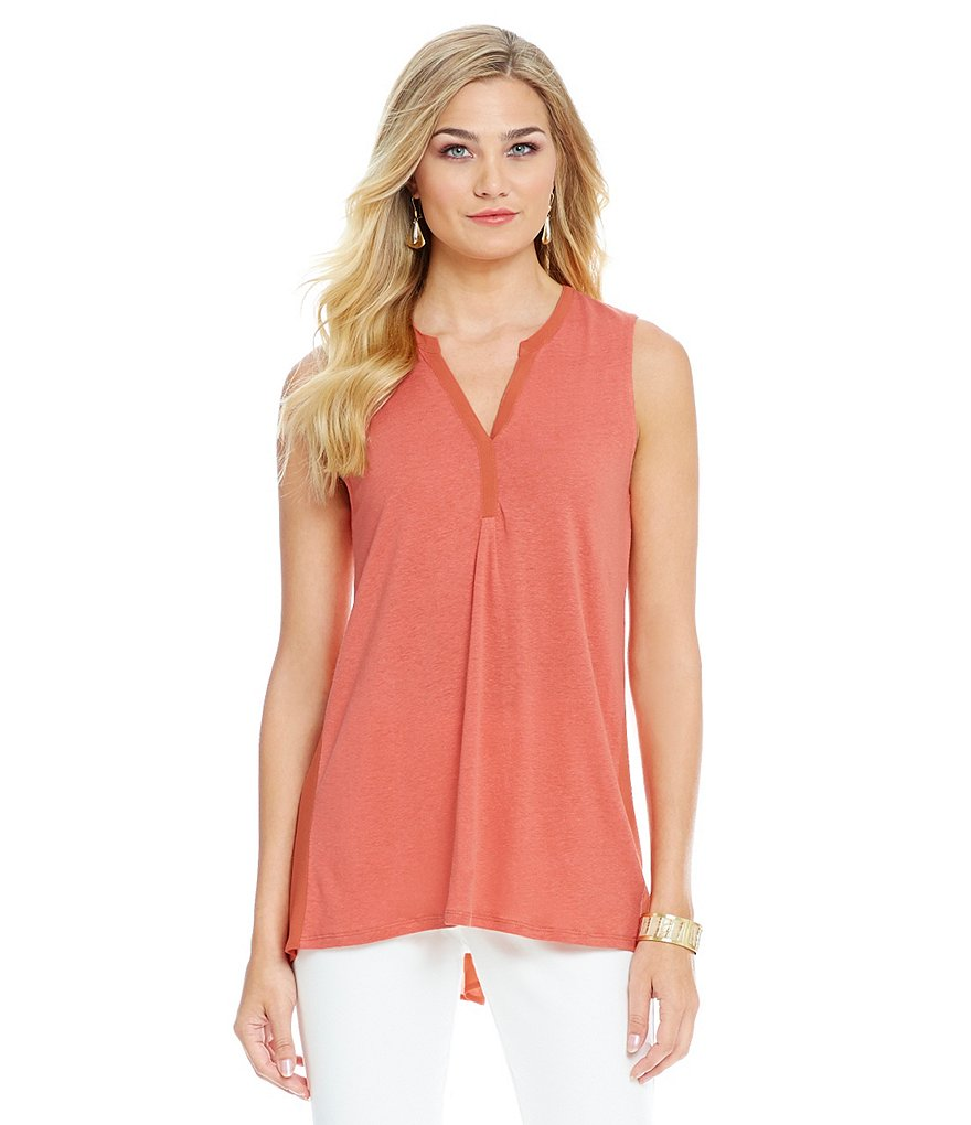 Sigrid Olsen Signature Mixed-Media Split V-Neck Sleeveless Tank