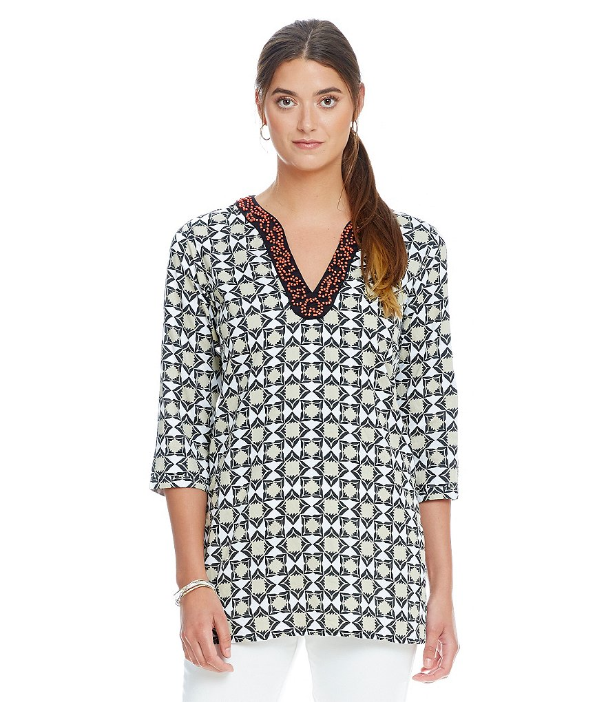 Sigrid Olsen Signature Beaded 3/4 Sleeve Split Neckline Geometric Tunic
