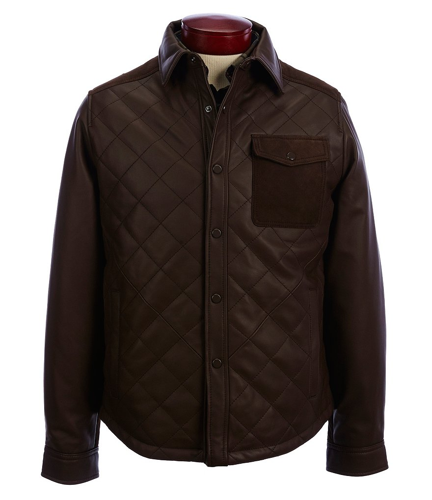 Roundtree & Yorke Lambskin Leather Shirt Jacket