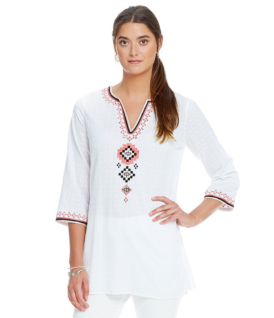 Sigrid Olsen Signature 3/4 Sleeve Embroidered Split Neckline Tunic