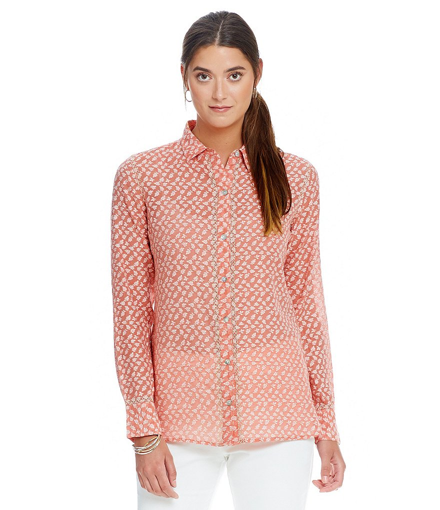 Sigrid Olsen Signature Silk Jacquard Button-Front Shirt