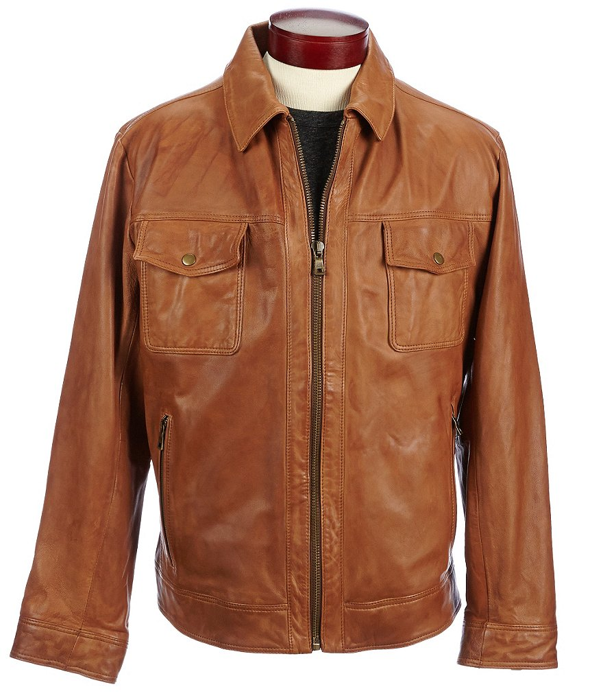 Roundtree & Yorke Distressed Lambskin Leather Jacket