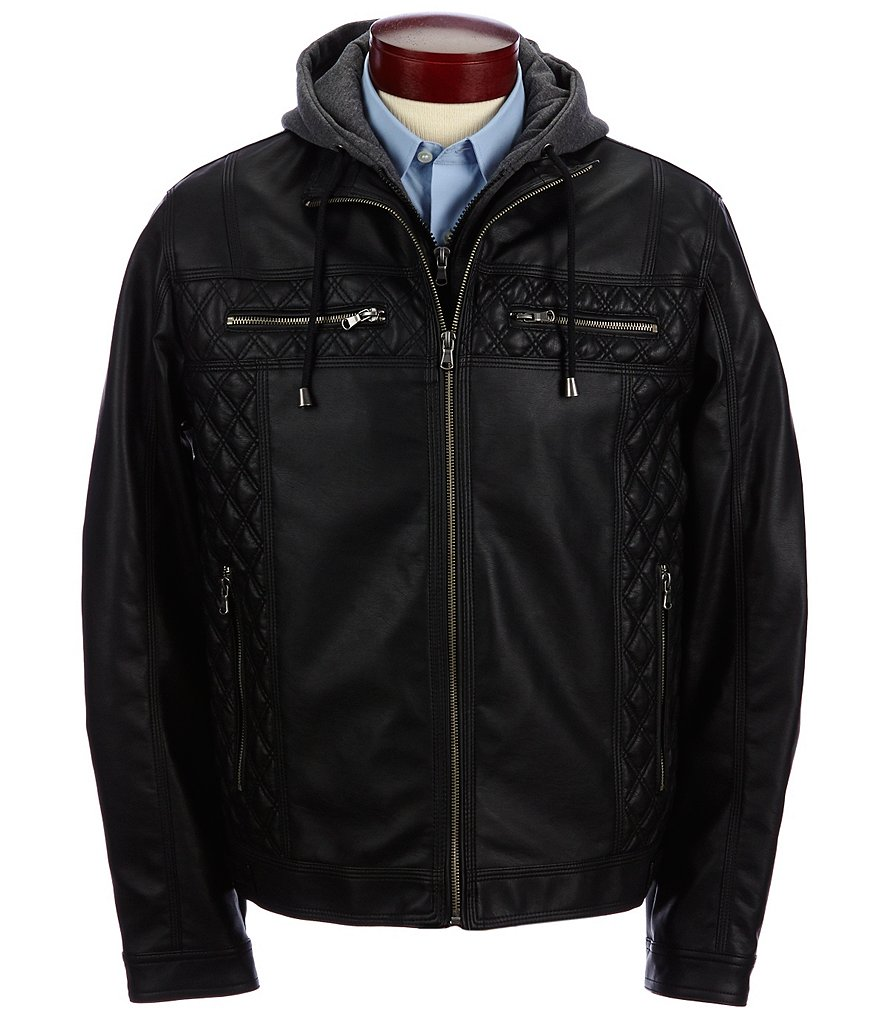 Murano Faux-Leather Jacket with Hood