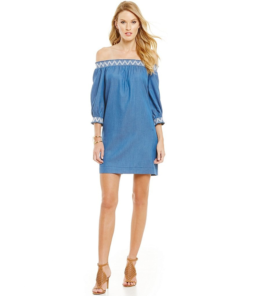 Trina Turk Neville Chambray Off-The-Shoulder Dress