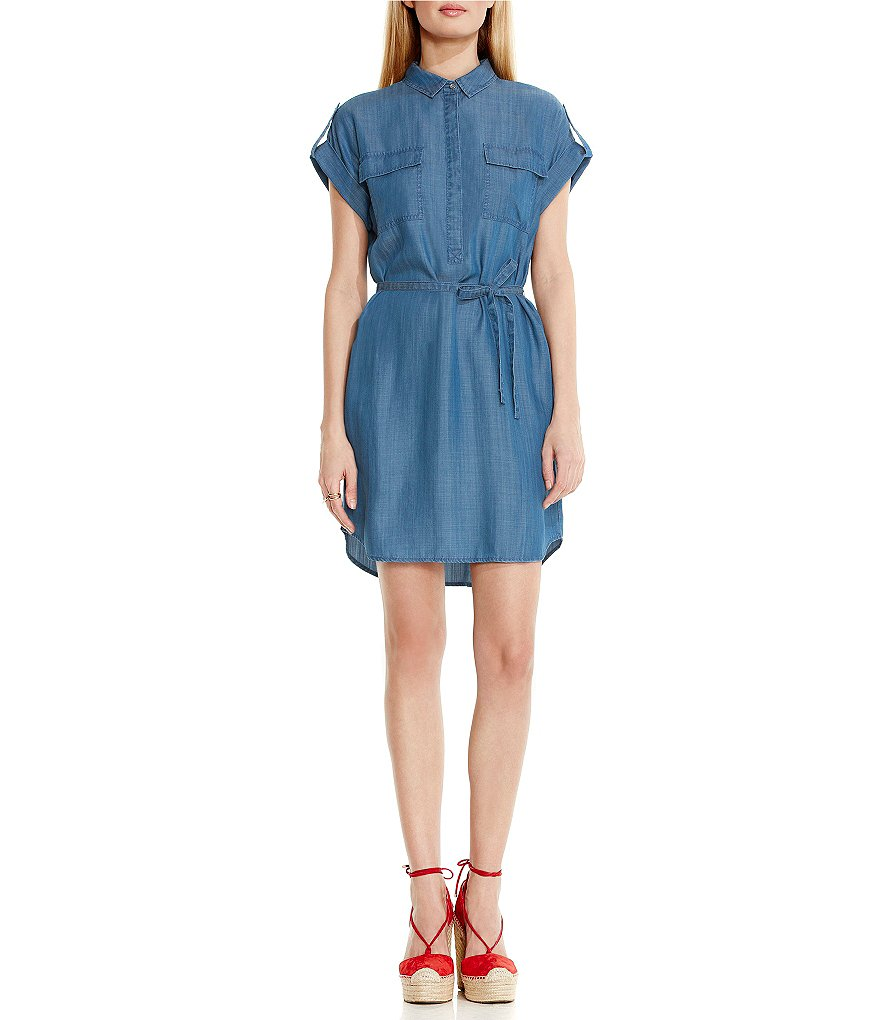 Two by Vince Camuto Utility Tie Waist Shirtdress
