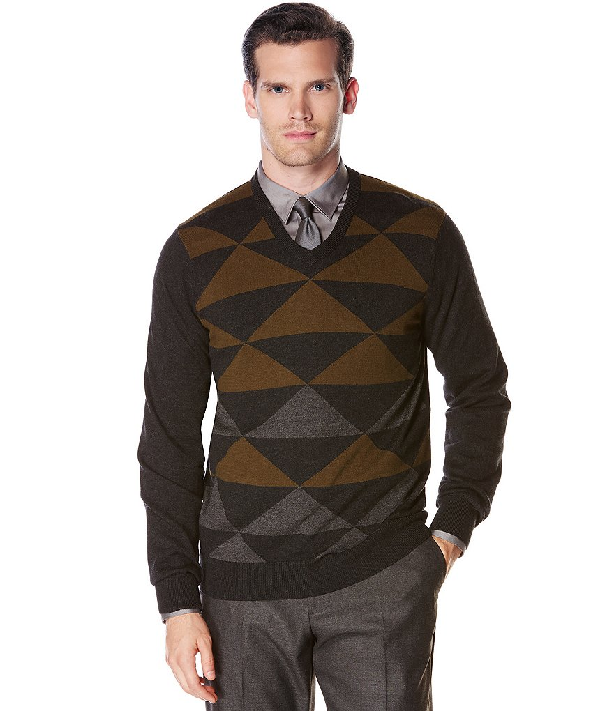 Perry Ellis Color Block V-Neck Long-Sleeve Sweater
