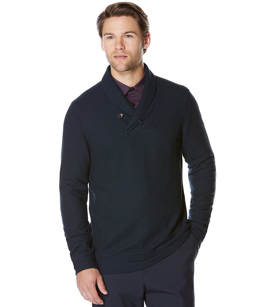 Perry Ellis Shawl Collar Long-Sleeve Elbow Patch Shirt