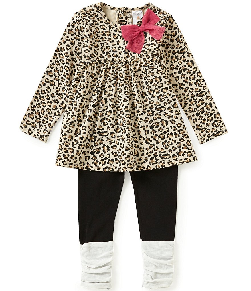 Edgehill Collection Baby Girls 12-24 months Animal Print Top & Leggings Set