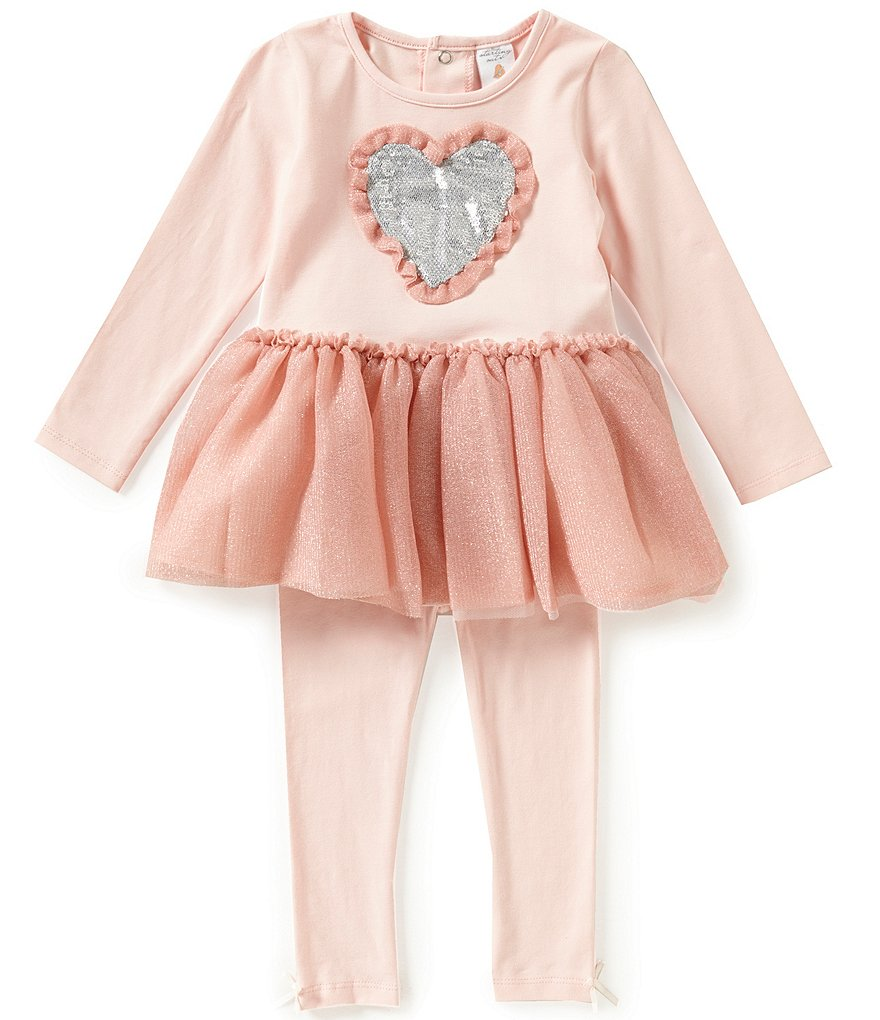 Edgehill Collection Baby Girls 12-24 Months Sequin Heart-Appliqué Top and Leggings Set