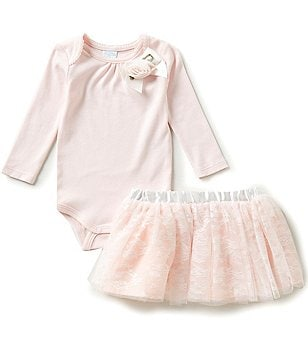 Edgehill Collection Baby Girls Newborn-6 Months Bodysuit & Lace Skirt Set