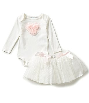 Edgehill Collection Baby Girls Newborn-6 Months Long-Sleeve Bodysuit & Tutu Set