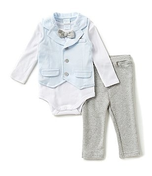 Edgehill Collection Baby Boys Newborn-6 Months 3-Piece Bow-Tie Bodysuit, Vest & Pants Set