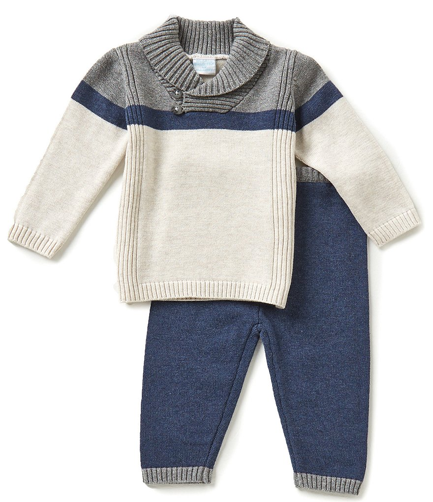 Edgehill Collection Baby Boys Newborn-6 Months Shawl-Collar Top & Pants Set