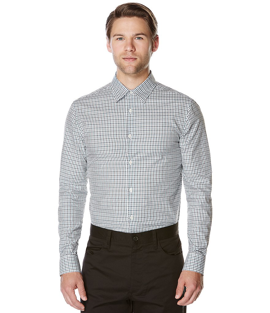 Perry Ellis Plaid Dobby Long-Sleeve Woven Shirt