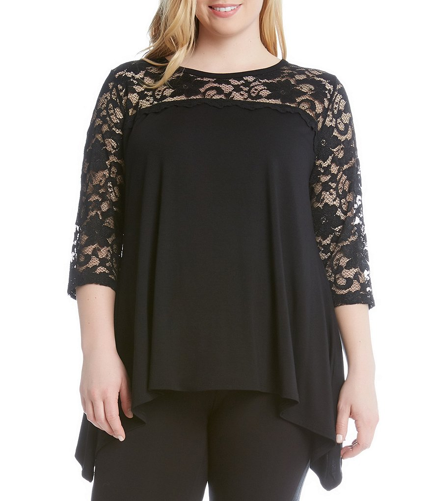 Karen Kane Plus 3/4 Sleeve Lace Yoke Handkerchief Top