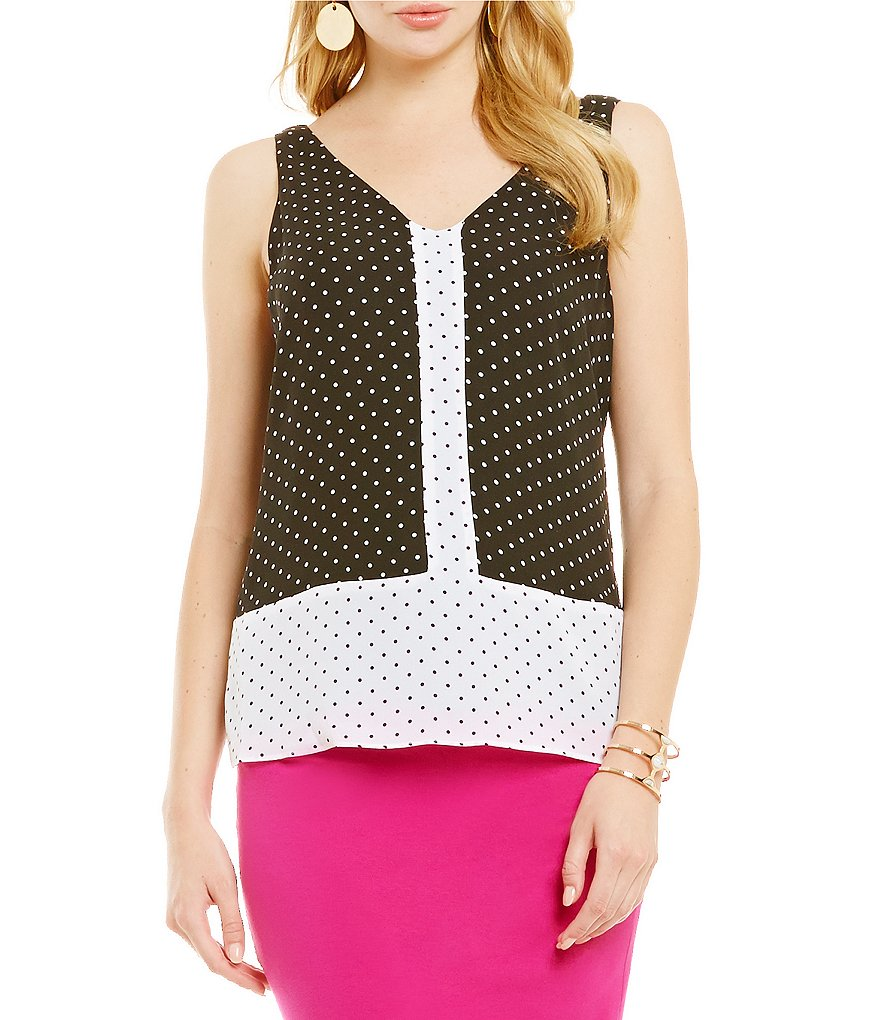 Vince Camuto Island Pin Dot Colorblock Camisole