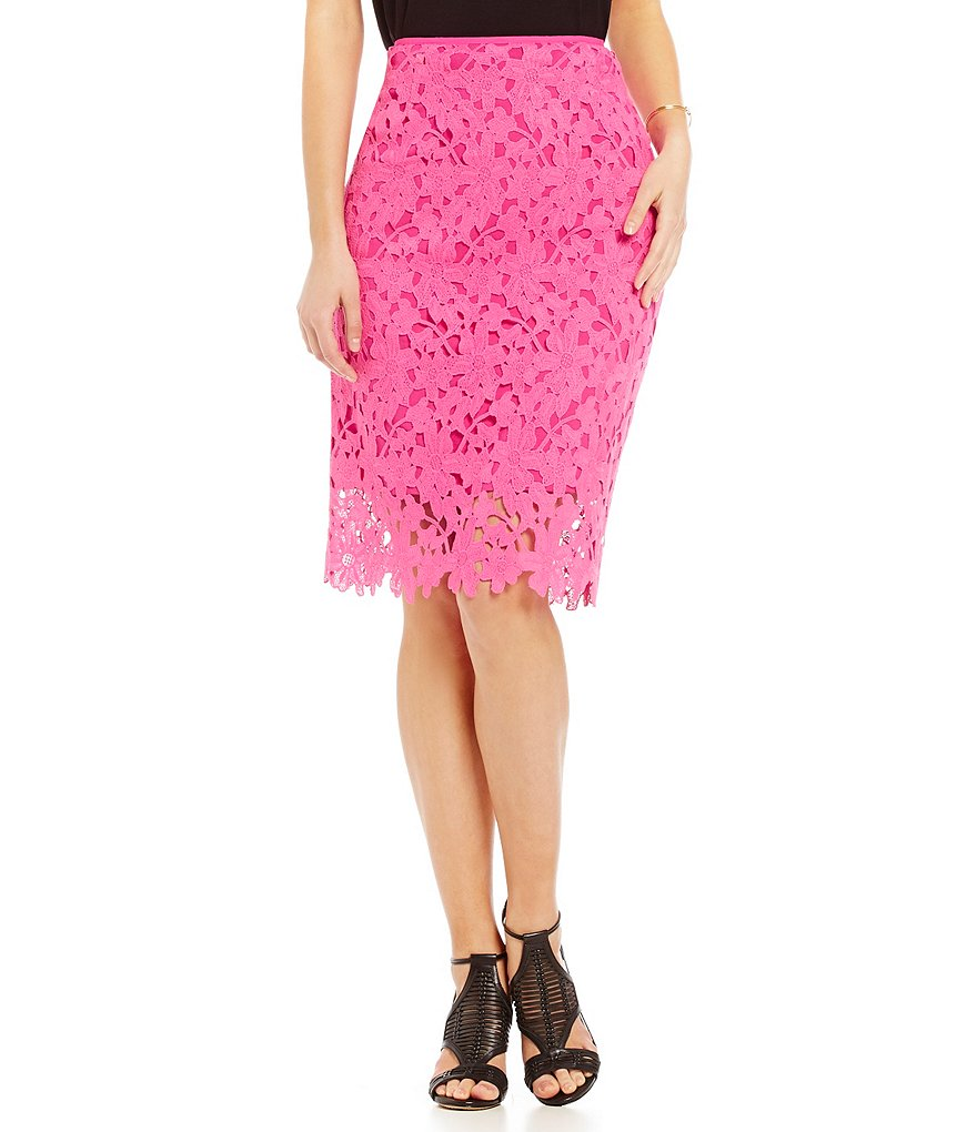 Vince Camuto Floral Embroidery Pencil Skirt