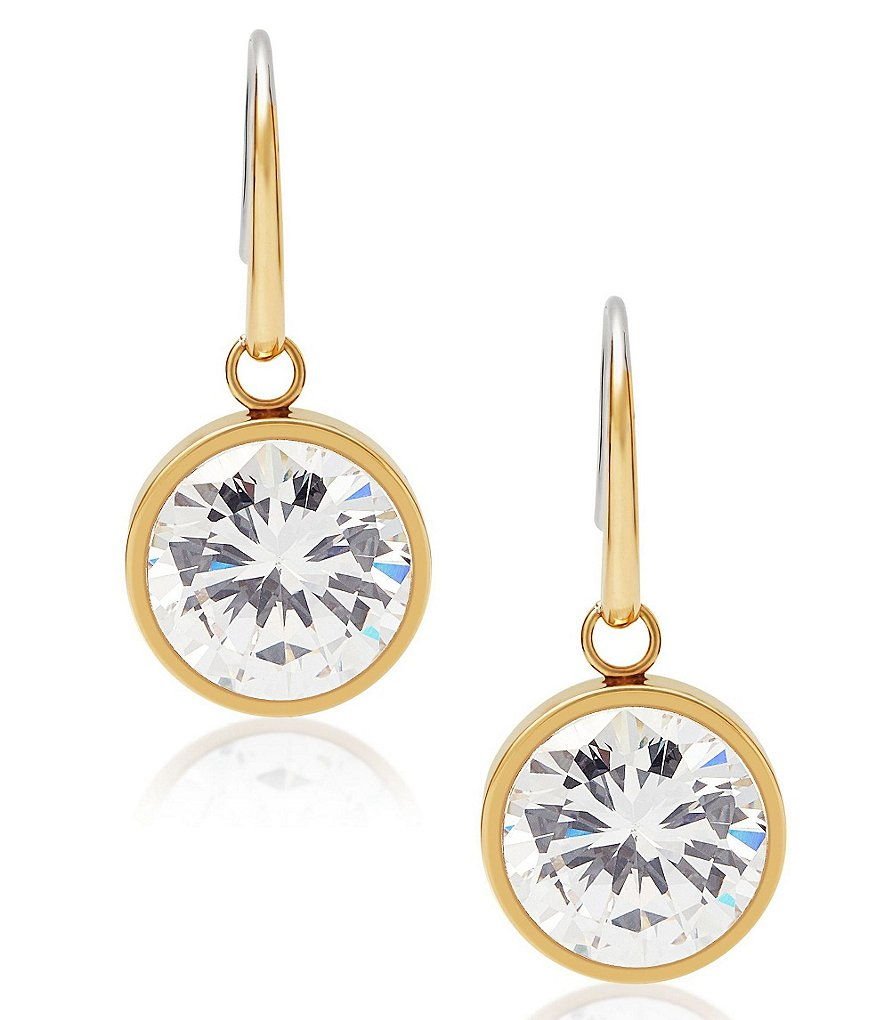 Michael Kors Stainless Steel and Cubic Zirconia Drop Earrings