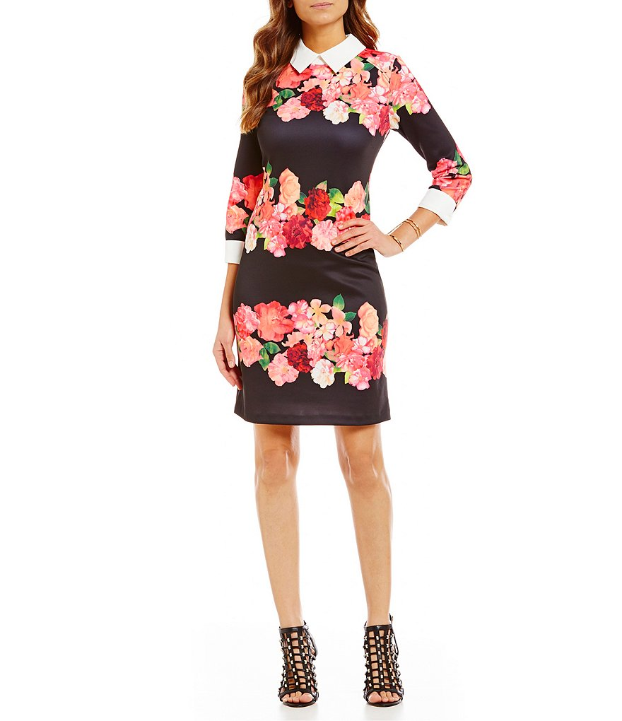 Vince Camuto Floral Collared 3/4 Sleeve Dress