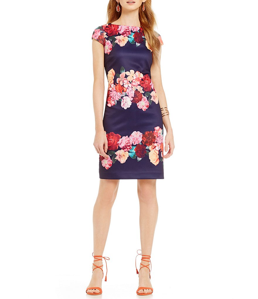 Vince Camuto Floral Boat Neck Dress