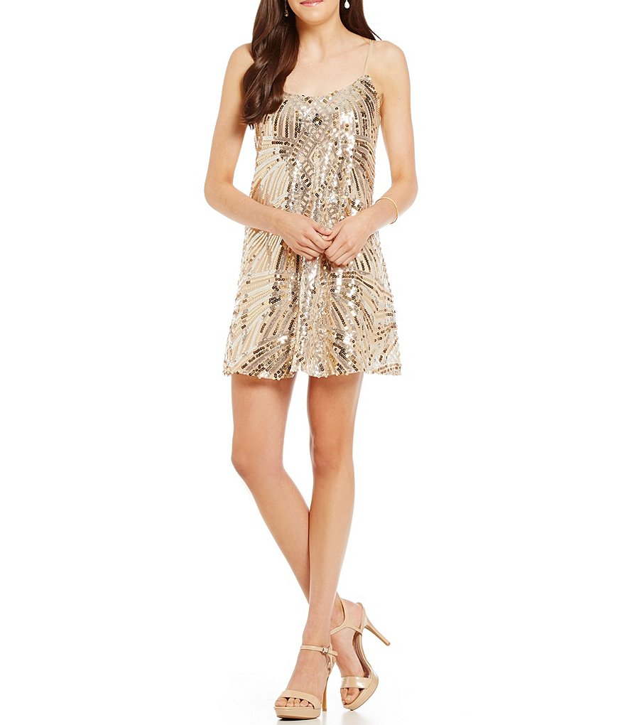 Honey and Rosie Sequin-Embellished Trapeze Dress