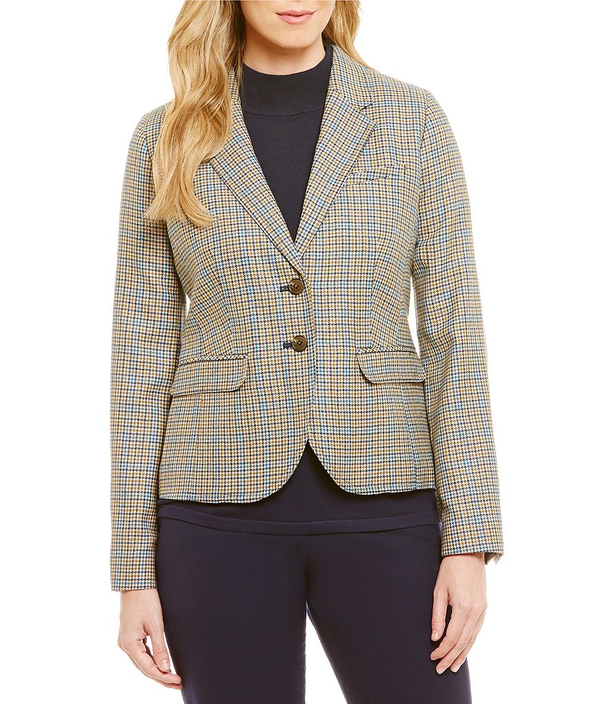 Pendleton Take Shape Houndstooth Check Worsted Flannel Blazer