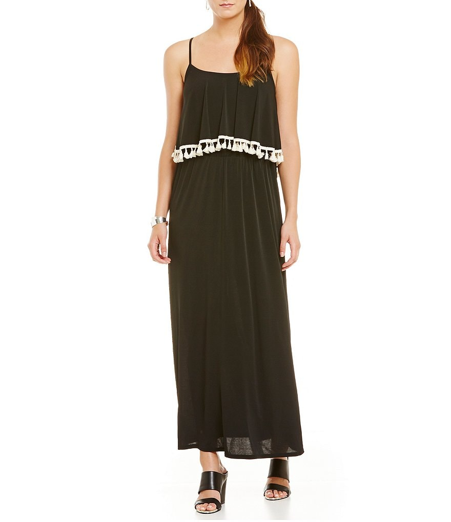 Gibson & Latimer Crochet Tassel Trim Maxi Dress
