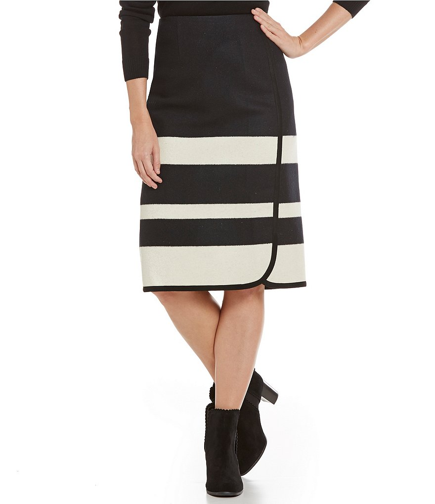 Pendleton Skyline Stripe Faux Wrap Skirt