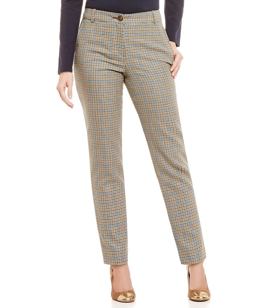 Pendleton Houndstooth Check Worsted Flannel Slim Ankle Pants