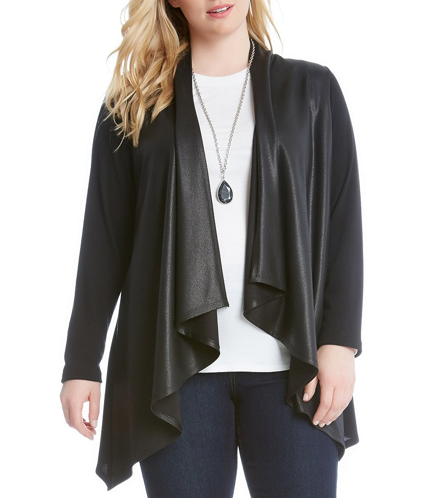 Karen Kane Plus Faux Leather Drape Front Jacket