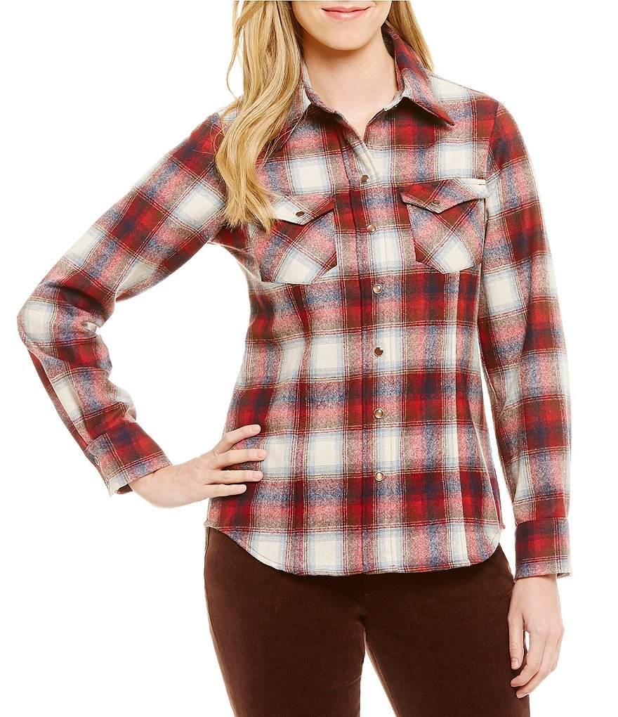 Pendleton Umatilla Wool Flannel Ranch Hand Plaid Snap Front Shirt