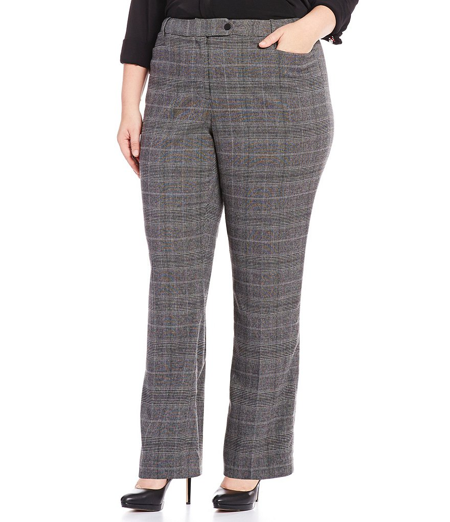 Calvin Klein Plus Glen Plaid Straight Leg Pants